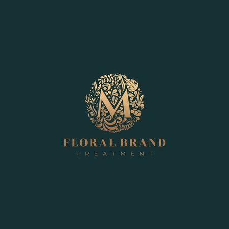 Letter M golden luxurious circle floral decorative logo