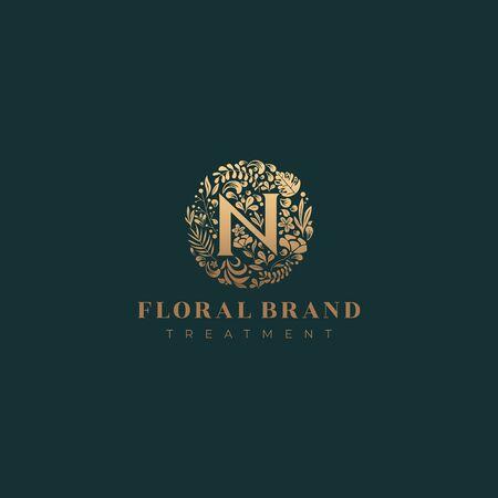 Letter N golden luxurious circle floral decorative logo