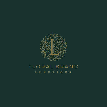 Letter L Circle Floral Botanical Leaf Logo Design