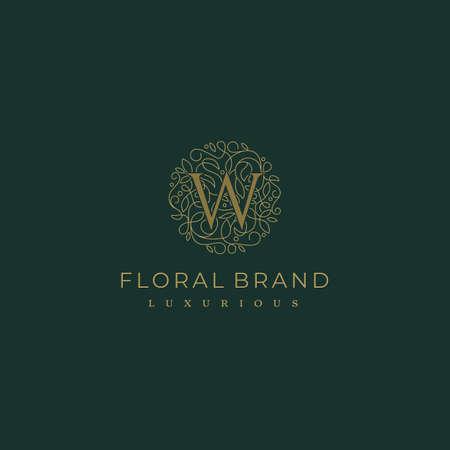 Letter W Circle Floral Botanical Leaf Logo Design