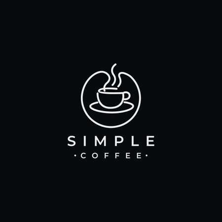Simple coffee circle line logo design