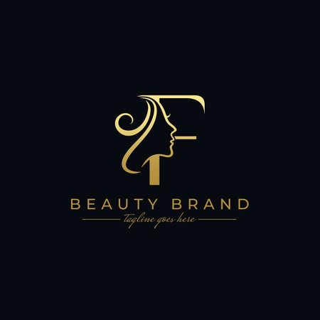 Letter F Beauty Face, Hair Salon Logo Design