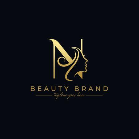 Letter N Beauty Face, Hair Salon Logo Design