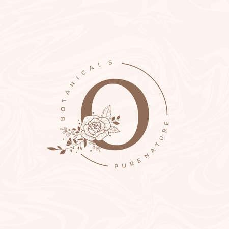 Letter O Botanical Flowers . Initial Wedding Monogram Font Logo. Circle Floral Rose Logo Logo