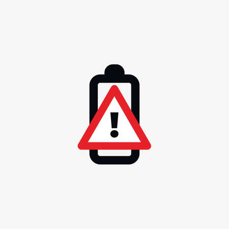 Simple Triangle Exclamation Battery Warning Vector Icon