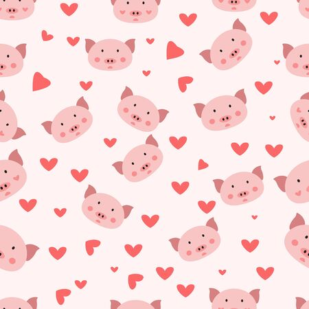 seamless pattern with cute pig illustrations. Good for wallpapers, gift wrapping, covers, fabrics, textiles