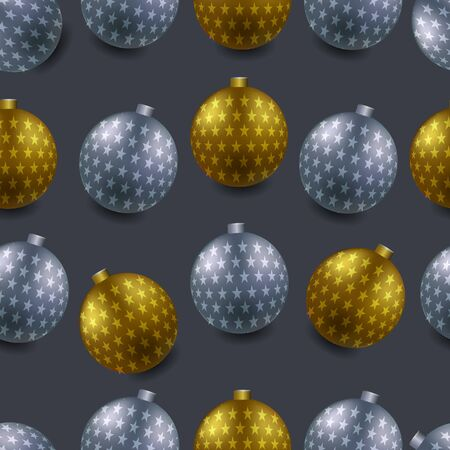 Closeup display of different Christmas ornaments isolated from a black background. ball silver and gold, Illustration