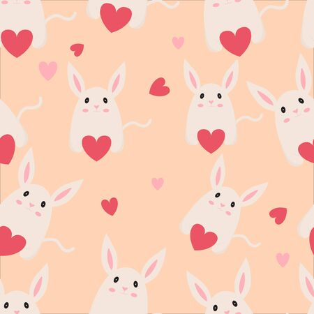 illustration vector graphic seamless pattern rabbit, good use wallpaper, fabric, textiles