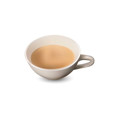Cup of milk coffee with a white background, design vector illustration of coffee cup, close up