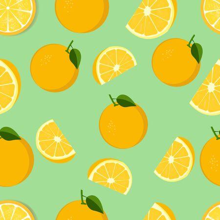 illustration vector graphic of Summer fruit pattern of lemon slices on a  teal background Çizim