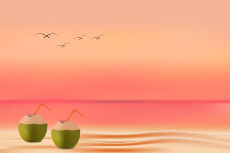 summer beach background. young coconut on the beach