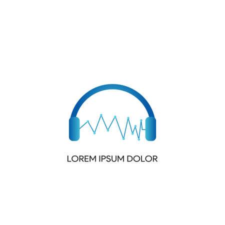headphone logo with wave template, music studio recording, audio, monitor