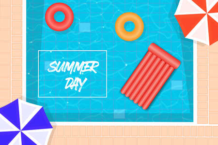 summer pool background, floating rubber mattress, and umbrella