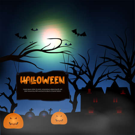 halloween background with spooky night scene, ghost, pumpkin, bats, graves, moon, october halloween