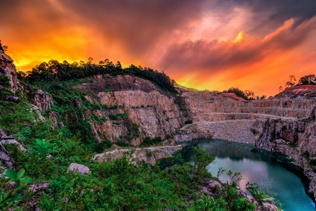 The Long Exposure blue Lake At Abandoned quarry