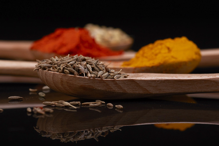 Various herbs and spices in wooden spoons. Flat lay of spices ingredients chilli  cumin seed  coriander seed and turmeric powder on black background.
