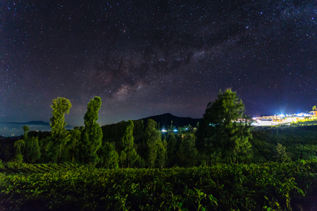 Beautiful milky Way at Probolinggo village, indonesia at night