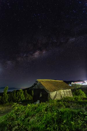 Beautiful milky Way at Probolinggo village, indonesia at night