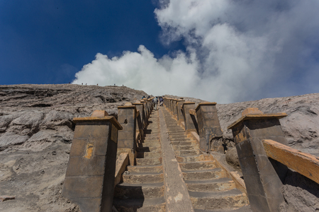 Steps leading up to Mt Bromo volcano in Java, Indonesia.