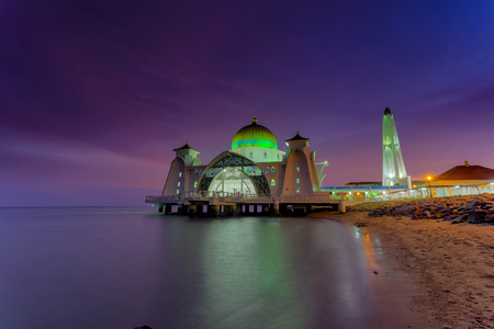 Malacca Straits Mosque ( Masjid Selat Melaka), It is a mosque located on the man-made Malacca Island near Malacca Town, Malaysia