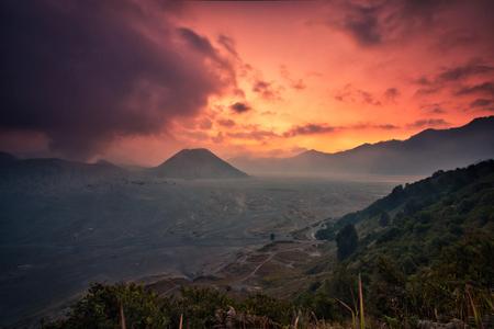 Golden hour of sunset at mount bromo surabaya indonesia