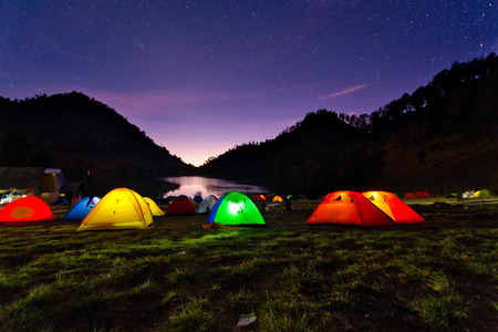Night View Of Ranu Kumbolo Campsite.Ranu Kumbolo might be one of the familiar names, especially for those who like to ride mountains. Dubbed the paradise of Semeru, Ranu Kumbolo or Lake Kumbolo which  写真素材