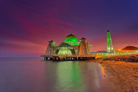 Malacca Straits Mosque ( Masjid Selat Melaka), It is a mosque located on the man-made Malacca Island near Malacca Town, Malaysia