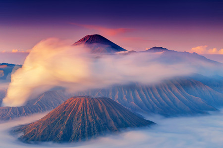 Mount Bromo, is an active volcano and part of the Tengger massif, in East Java, Indonesia. Standard-Bild - 121092118