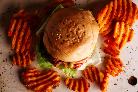 Home made hamburger with lettuce,cheese and fries potato Standard-Bild - 123018797