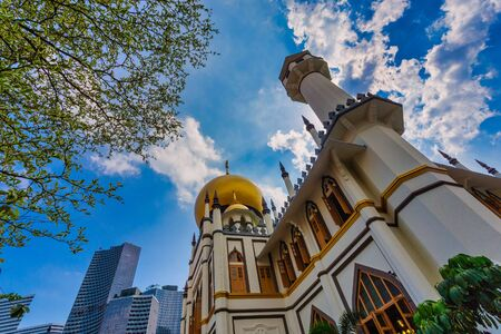 Sultan Mosque beautiful viewed from Muscat Street with Blue Sky.