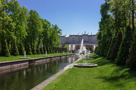 Attractions and architecture of Russia. Splashes of the central cascade of fountains in the park Petergof
