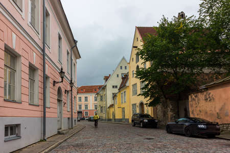 The streets of the old city of Tallinn without people, Estonia, Europe