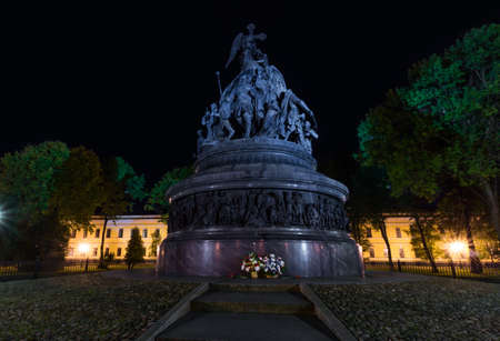 Night photograph of the monument from the day the millennium of Russia was founded in the center of the Novgorod Kremlin in Veliky Novgorod, Russia. Popular attraction Stock Photo