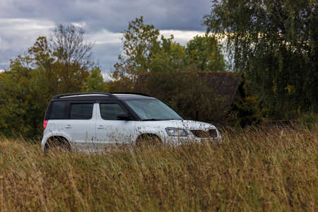 Parked white universal car for young travelers through the picturesque territories of nature reserves in the Pskov region, west of the Izborsk Valley, Russia. Travel and Tourism Summer Day