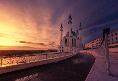 Kul Sharif Mosque in the Kazan Kremlin at sunset. Space for decoration, postcard look.