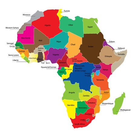 Detail color map of African continent with borders. Each state is colored to the various color and has wrote the name.