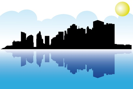 Illustration of Manhattan with reflection in Hudson. Vector