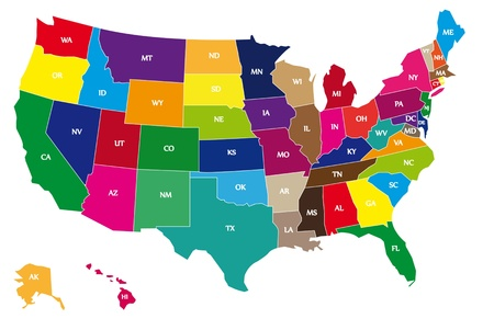 Detail color map of USA with name of states. 일러스트