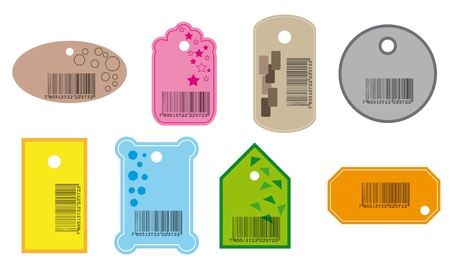 Set of price tags in various color. Vector