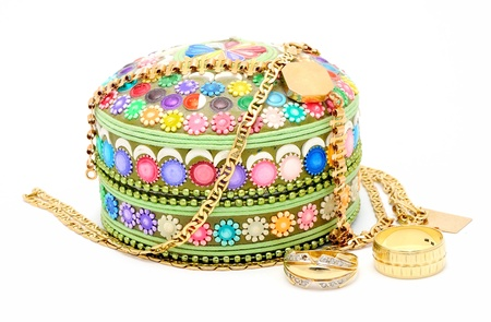 Detail image of decoration jewel boxes with chainlet. photo