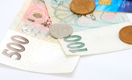 Detail image of money paper and coins with debit card.