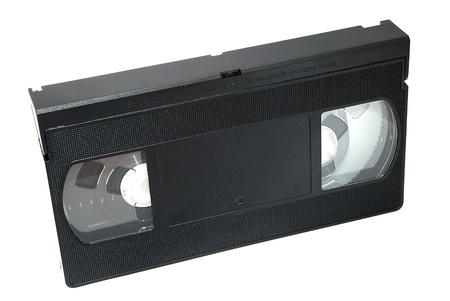 vhs videotape: Black video cassette isolated on the white background.