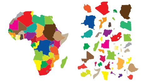 Detail illustration of color map of African continent with small pieces of each states and made of puzzle. Vectores