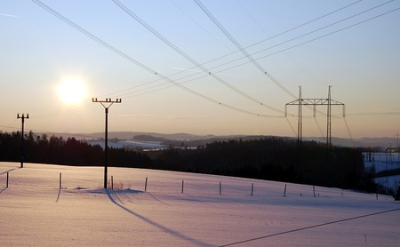 Winter landscape with power line. Stock Photo - 9316655