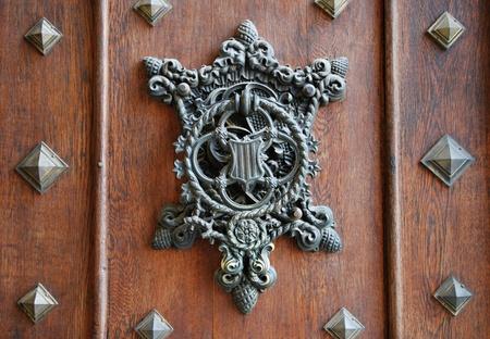 Medieval door in old castle named Hluboka nad Vlatavou - Czech Republic.