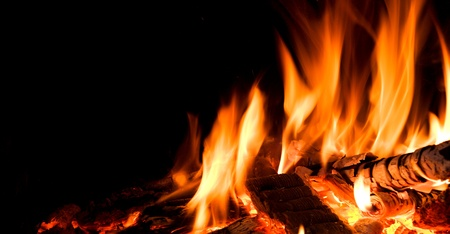 Detail of fire in open fireplace. Stock Photo - 9316610