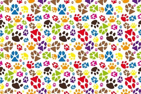 JPG color illustration of animal paw seamless tile.