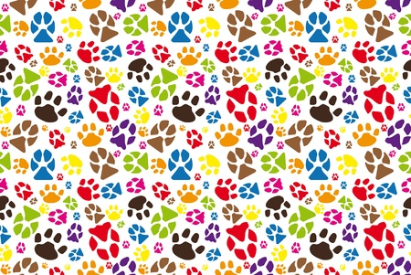 blue print: JPG color illustration of animal paw seamless tile.