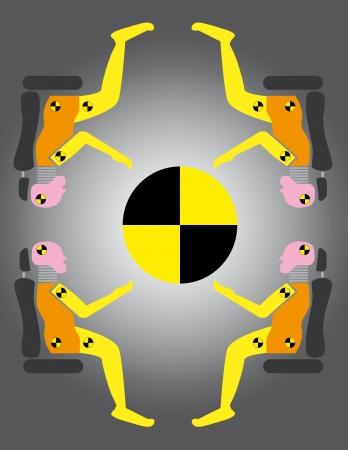 Crash test dummies around the danger symbol