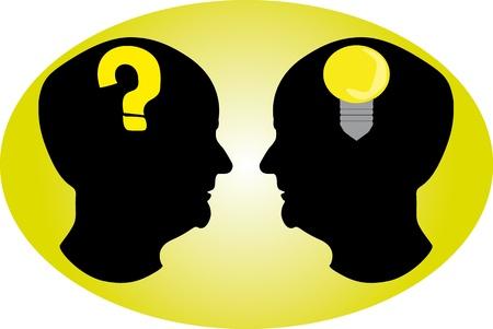 point d interrogation: T�te noire qui pr�sentent diff�rent type de pens�e.